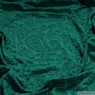 Stoff Polyester Elastan Jacquard Jersey grün Paisley Strick Strickjersey