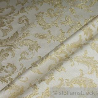 Stoff Polyester Jacquard Ornament ecru gold Lurex Goldbrokat Barock Rokoko 280 cm überbreit - Vorschau 2