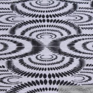 Stoff Polyester Interlock Jersey Plissee Kreis weiß schwarz - Vorschau 2