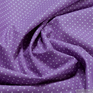 Stoff Baumwolle Punkte ganz klein lila weiß Tupfen Baumwollstoff