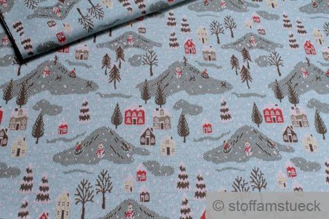 0, 5 Meter Stoff Recycelt Baumwolle Polyester Elastan Jacquard Jersey blau Winter