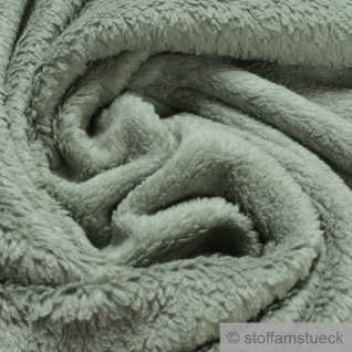 Stoff Baumwolle Plüsch Teddy mint Webpelz weich flauschig altgrün