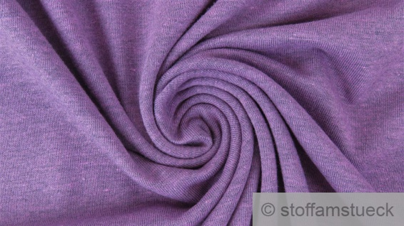 0, 5 Meter Baumwolle Polyester Elastan Single Jersey Melange hellviolett meliert
