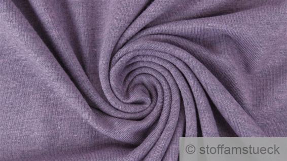 0, 5 Meter Baumwolle Polyester Elastan Single Jersey Melange flieder meliert