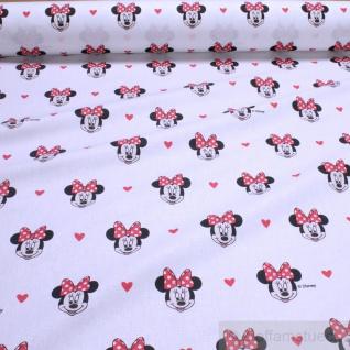 Stoff Kinderstoff Baumwolle weiß Minnie Mouse Minnie Maus Walt Disney