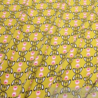 Stoff Baumwolle Lycra Single Jersey hellgrün Blume Retro dehnbar elastisch