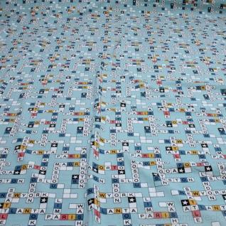 0, 5 Meter Stoff Kinderstoff Baumwolle Elastan Single Jersey blau Buchstabenspiel