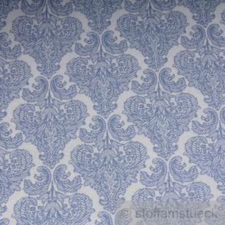 Stoff Polyester Baumwolle Ornament weiß hellblau feingezeichnet - Vorschau 4