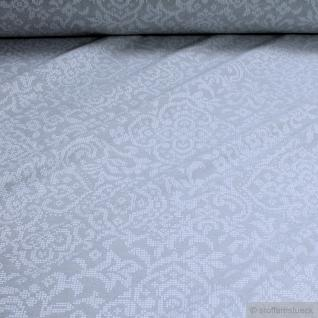 Stoff Baumwolle Polyester Jacquard Ornament hellgrau ganz leicht glänzend