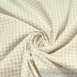 Stoff Baumwolle Popeline Kreise weiß beige Baumwollstoff Kreis Punkt