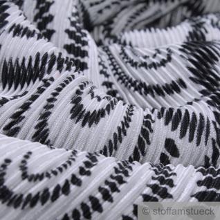 Stoff Polyester Interlock Jersey Plissee Kreis weiß schwarz - Vorschau 3