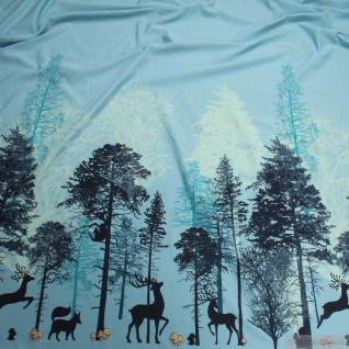 Stoff Baumwolle Lycra Single Jersey blau Reh Glitzer Wald Herzchen T-Shirt-Kleid