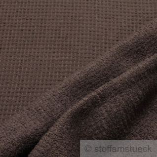 Stoff Baumwolle Frottee Waffelpiqué schokobraun braun Waffelpikee Waffelpique