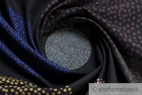 Stoff Baumwolle Panama schwarz Kreis weinrot ecru Flammgarn kobaltblau Punkt - Vorschau 1
