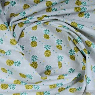 Stoff Kinderstoff Baumwolle hellgrau Ananas Baumwollstoff leicht weich