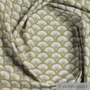 Stoff Baumwolle Popeline Welle beige japanisches Muster Seigaiha Fächer