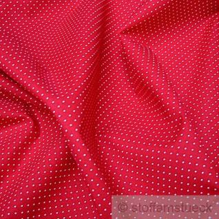 Stoff Baumwolle Punkte ganz klein rot weiß 2, 5 mm Tupfen Pünktchen