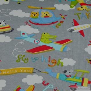 Stoff Kinderstoff Baumwolle Elastan Single Jersey hellgrau Flugzeug Oeko-Tex 100 - Vorschau 4
