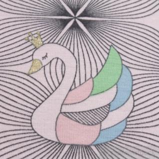 Stoff Kinderstoff Baumwolle Elastan Single Jersey pastellrosa Einhorn Schwan - Vorschau 3