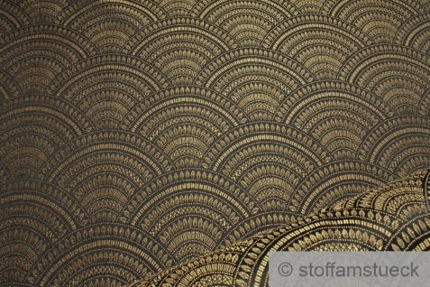 Stoff Polyester Baumwolle Gobelin Welle schwarz gold Japan Muster Seigaiha