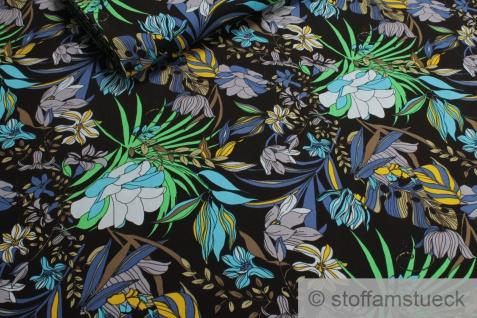 Stoff Viskose schwarz Blume blau fließend leicht weich Blumen farbenfroh