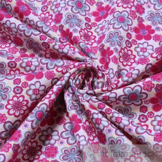 Stoff Baumwolle Popeline weiß Prilblume pink Baumwollstoff Blume