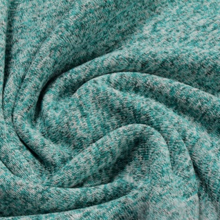 0, 5 Meter Stoff Polyester Single Jersey angeraut petrol türkis Alpenfleece weich