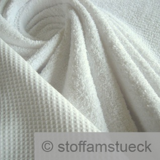 Stoff Baumwolle Frottee Waffelpiqué weiß Waffelpikee Waffelpique