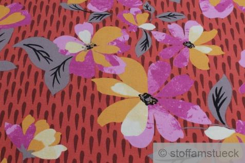 Stoff Viskose Feinköper ziegelrot Blume fließend leicht weich Blumen farbenfroh - Vorschau 2