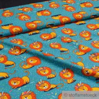 0, 5 Meter Stoff Kinderstoff Baumwolle Elastan Single Jersey petrol Löwe blau
