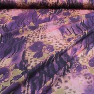 Stoff Polyester Chiffon Explosion apricot lila bunt leicht transparent