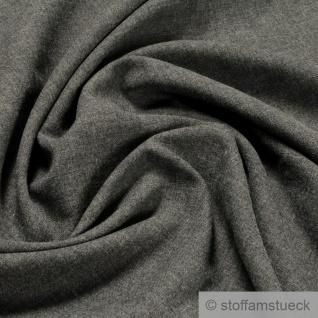 Stoff Wolle Polyester Leinwand anthrazit meliert leicht weich