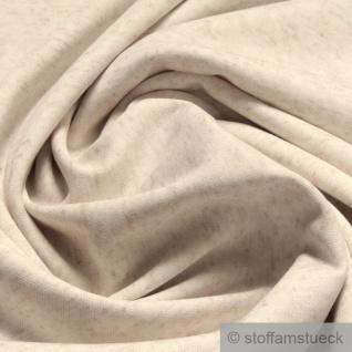 Stoff Leinen Polyester Lycra Interlock Jersey beige meliert dehnbar weich