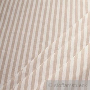 Stoff Baumwolle Bauernstreifen beige weiß 1 cm Streifen