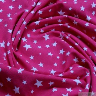 Kinderstoff Stoff Baumwolle Elastan Single Jersey Stern pink weiß Sternchen