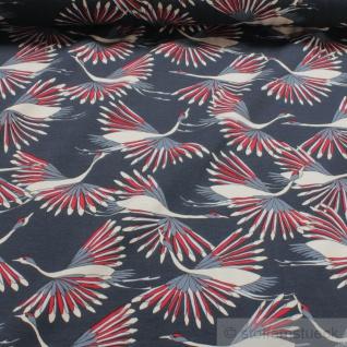 0, 5 Meter Stoff Baumwolle Elastan Single Jersey dunkelblau Kraniche kbA GOTS