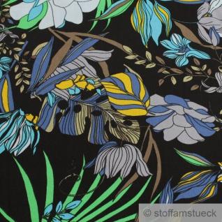 Stoff Viskose schwarz Blume blau fließend leicht weich Blumen farbenfroh - Vorschau 4
