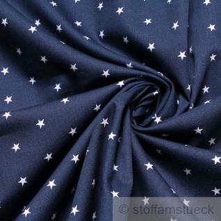 Stoff Kinderstoff Baumwolle Popeline Sternchen dunkelblau weiß Baumwollstoff