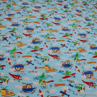 Kinderstoff Baumwolle Lycra Single Jersey hellblau Flugzeug Oeko-Tex 100 Looping