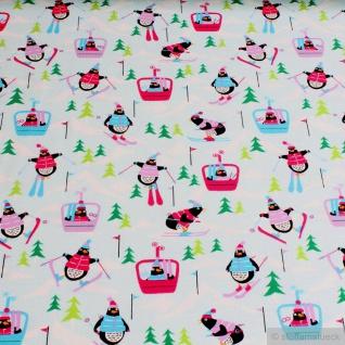 Kinderstoff Baumwolle Elastan Single Jersey helltürkis Pinguin little Darling Ski
