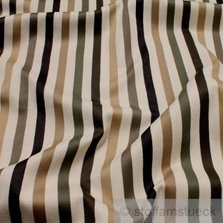 Stoff Viskose Baumwolle Fischgrat Satin Streifen natur braun oliv Polster Vorhang