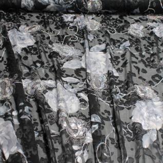 Stoff Viskose Polyester Chiffon schwarz Blume Paillette Glitzer transparent