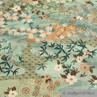 Stoff Viskose Popeline türkis Blumenwiese leicht weich Blumen Blüten - Vorschau 2