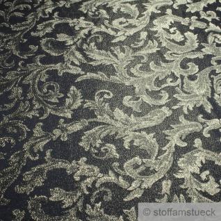 Stoff Polyester Jacquard Ornament schwarz gold Lurex Silberbrokat Barock 280 cm überbreit - Vorschau 2