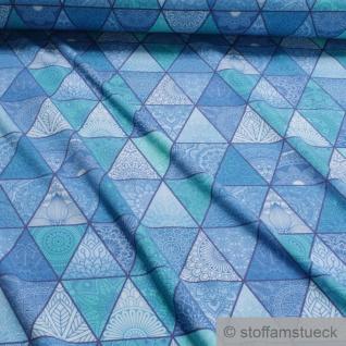 0, 5 Meter Stoff Baumwolle Elastan Single Jersey Dreieck blau türkis Orient