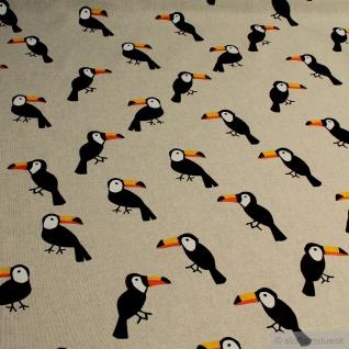 Stoff Baumwolle Polyester Rips natur Tukan Papagei Tukane Tropen