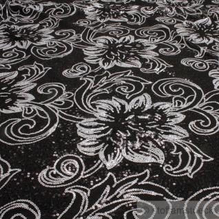Stoff Polyamid Polyester Elastan Tüllspitze schwarz Blume weiß elastisch