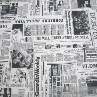 Stoff Baumwolle Polyester Zeitung schwarz weiß internationale Tageszeitungen