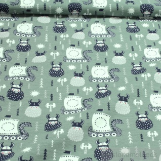 Stoff Kinderstoff Baumwolle Elastan Single Jersey pastellgrün Wikinger Schiff