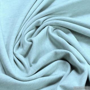 0, 5 Meter Stoff Bio-Baumwolle Elastan Single Jersey pastelltürkis meliert kbA